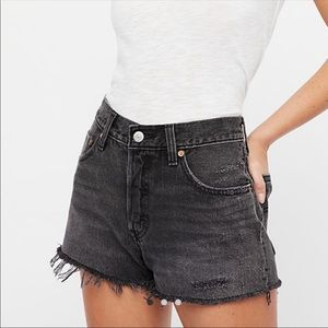 Levi's 501 Button Fly High Rise Gray Denim Shorts